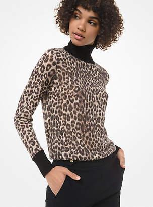 Michael Kors Leopard-Print Wool-Blend Turtleneck Sweater