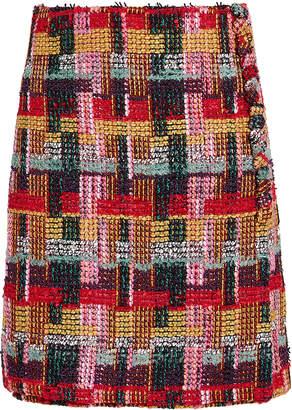 ADAM by Adam Lippes Tweed Button-Detail Wrap Skirt