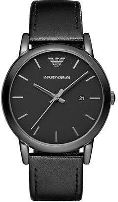 Emporio Armani Luigi Three-Hand Leather Watch
