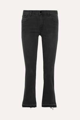 J Brand - Selena Cropped Mid-rise Flared Jeans - Black $250 thestylecure.com