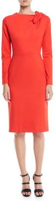 Escada Long-Sleeve Bow-Shoulder Jersey Sheath Dress