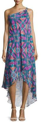 Laundry By Shelli Segal One-Shoulder Printed High-Low Gown, Dynasty Green/Multi Colors $325 thestylecure.com