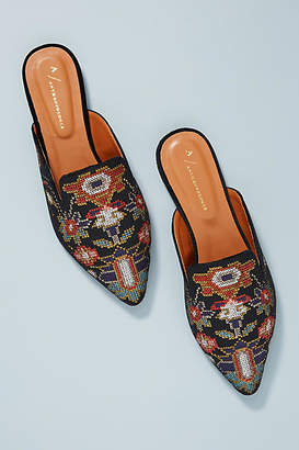 Anthropologie Embroidered Tapestry Slides