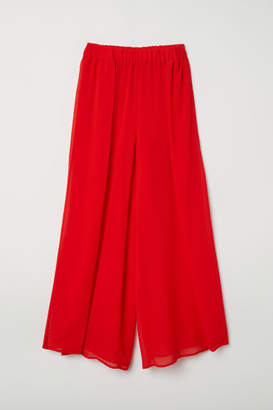 H&M Wide-leg Pants with Slits - Red