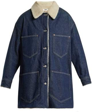 MM6 MAISON MARGIELA Shearling Lined Denim Coat - Womens - Denim