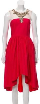 Marchesa Embellished Semi-Sheer Dress