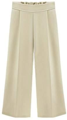 JSY Womens Elastic Waist Plus Size Chiffon Ankle Wide-Leg Palazzo Pants S