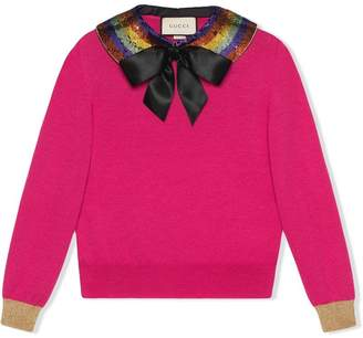 Gucci Cashmere silk knit top with detachable collar