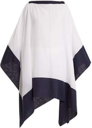 CASA NATA Split contrast-hem cotton poncho