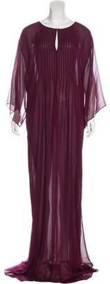 Oscar de la Renta Semi-Sheer Silk Maxi Dress