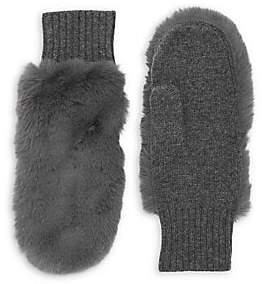 Carolina Amato Women's Faux Fur & Knit Mittens