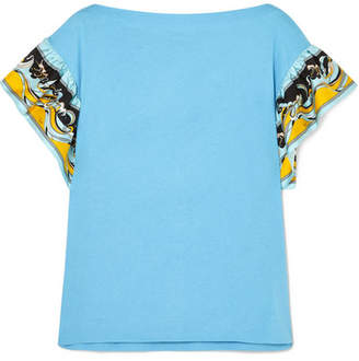 Emilio Pucci Printed Silk-trimmed Cotton-jersey T-shirt