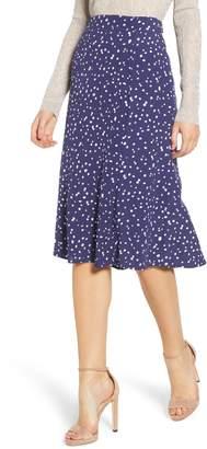 Leith High Waist Print Midi Skirt