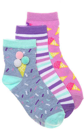 Olive & Edie Ice Cream Infant, Toddler & Youth Ankle Socks - 3 Pack - Girl's