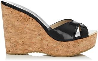 Jimmy Choo PERFUME Black Patent Leather Cork Wedge Sandals