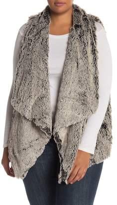 Wit & Wisdom Draped Faux Fur Vest (Plus Size)