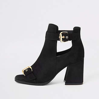 River Island Black faux suede square toe shoe boots