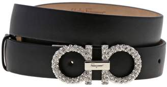 Salvatore Ferragamo Belt Adjustable Mediterranean Double Hook Belt In Genuine Leather With Rhinestones