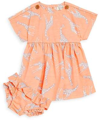 Jessica Simpson Baby Girl's Two-Piece Printed Dress and Ruffled Bloomer Set - Light/Pastel Orange, Size 6-9 mo