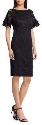 Chaps Lace Short Sleeve Dress