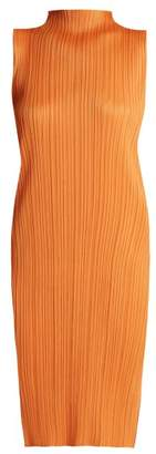 Pleats Please Issey Miyake High Neck Pleated Dress - Womens - Orange