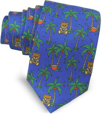 Moschino Blue Palms and Teddy Bears Printed Twill Silk Narrow Tie