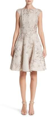 Talbot Runhof Metallic Twig Jacquard Dress
