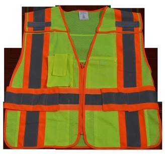 clear Petra Roc LVM2-PSVP-PLUS Public Safety Vest 207-2006 Lime Mesh with Orange Binding 5-Point Breakaway 5 Pockets Pvc Pocket On Back, Plus 2X & 5X