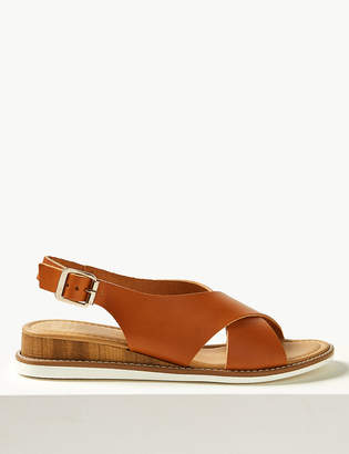 6918a3e7a0 M&S CollectionMarks and Spencer Leather Wedge Heel Cross Over Strap Sandals