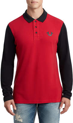 True Religion MENS LONG SLEEVE LOGO POLO
