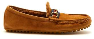 Gucci - Shearling Lined Driving Loafers - Mens - Brown