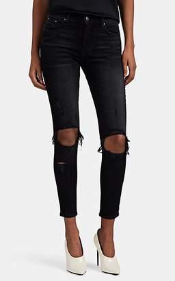 Amiri Women's Thrasher Distressed Skinny Crop Jeans - Black