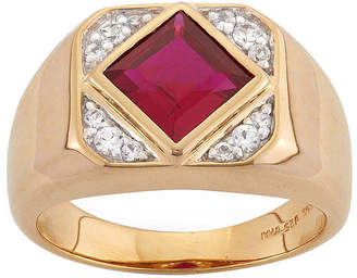 FINE JEWELRY Mens Lab-Created Ruby & White Sapphire 14K Gold Over Silver Ring