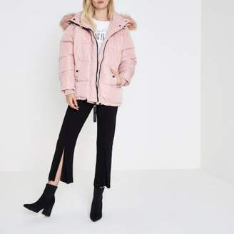 River Island Womens Pink faux fur hood oversized puffer jacket