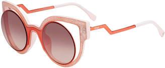 Fendi Paradeyes Open-Inset Round Cat-Eye Sunglasses