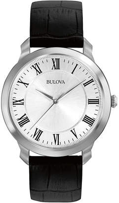 Bulova Mens Black Leather Strap Watch 96A133