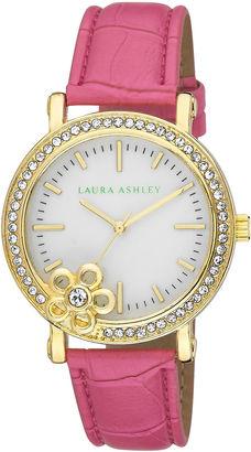 Laura Ashley Ladies Pink Floral Stone Bezel Watch La31013Pk $395 thestylecure.com