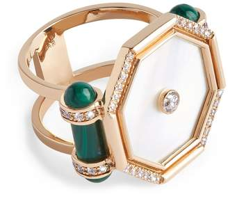 Mother of Pearl L'atelier Nawbar Rose Gold, Diamond, Malachite and Mother-of-Pearl Amulets of Light Ring