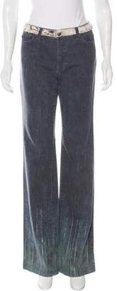 Just Cavalli Calf Hair-Trimmed Flare Jeans w/ Tags