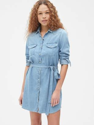 Gap Perfect Tie-Waist Denim Western Shirt Dress