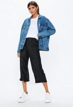 Missguided Petite Black Pleated Velvet Culotte Pants