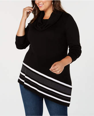 Belldini Plus Size Striped-Hem Tunic Sweater