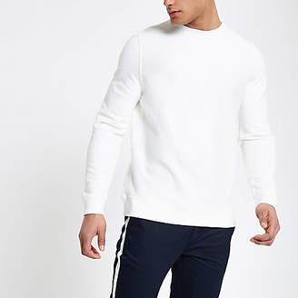 River Island White twill crew neck sweatshirt