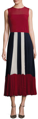 RED Valentino Sleeveless Colorblocked Pleated Muslin Midi Dress, Red $1,350 thestylecure.com