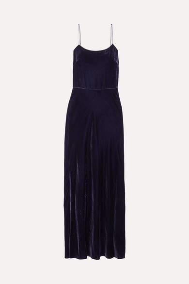 GREY - Open-back Velvet Maxi Dress - Blue