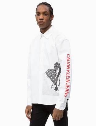 Calvin Klein Relaxed Fit Flag Print Shirt