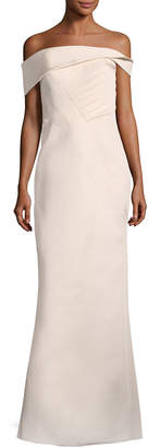 Neiman Marcus Rubin Singer Off-the-Shoulder Seamed Column Gown