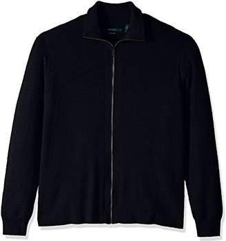 Perry Ellis Men's Big Solid Ribbed Full-Zip Sweater