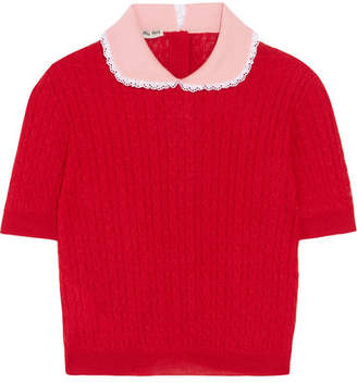Miu Miu Lace-trimmed Cable-knit Cashmere And Silk-blend Sweater - Red