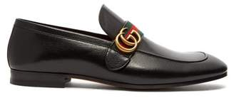 Gucci Donnie Gg Web Stripe Leather Loafers - Mens - Black